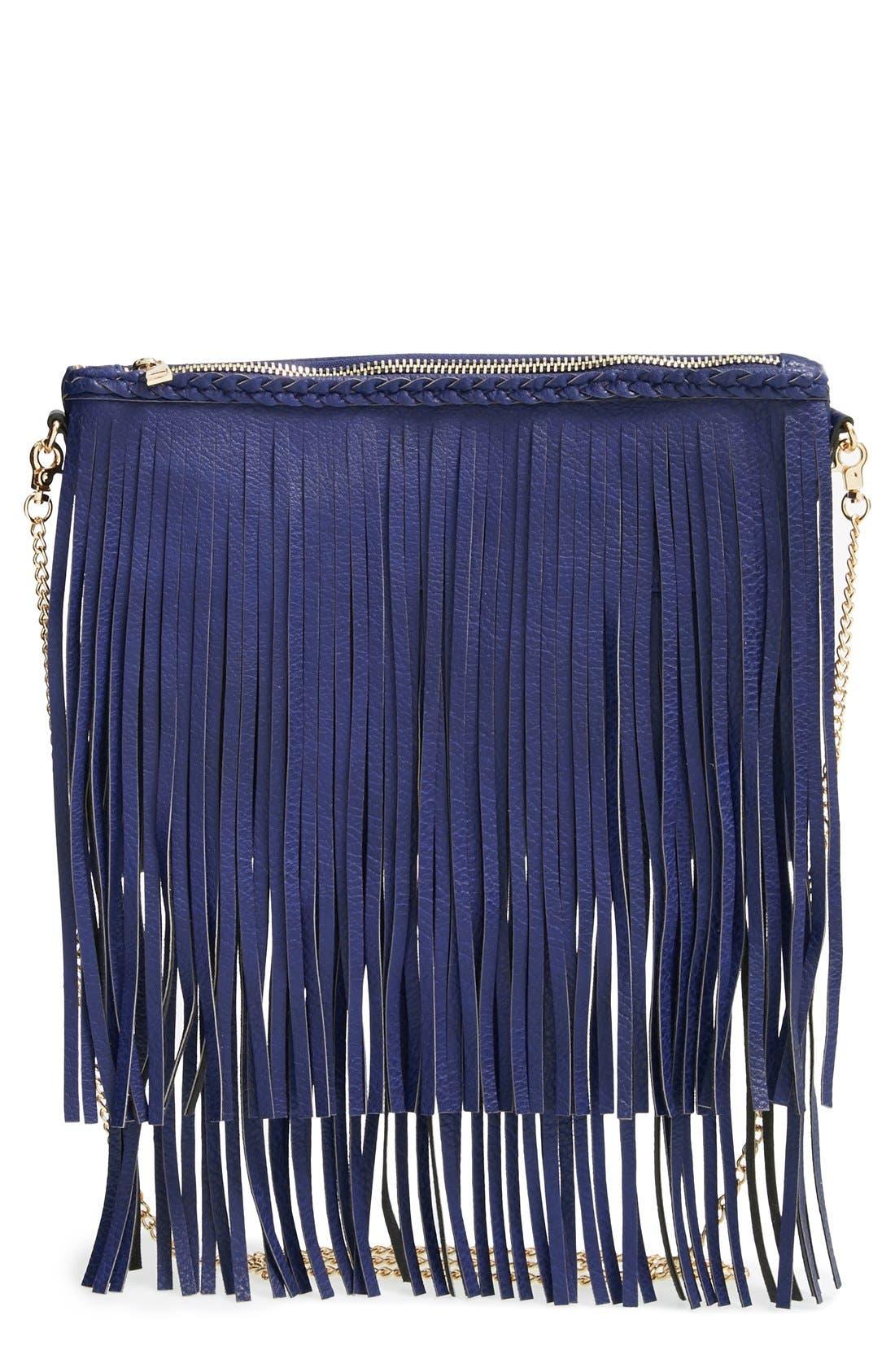 Main Image - Sole Society 'Rose' Fringe Faux Leather Convertible Crossbody Bag