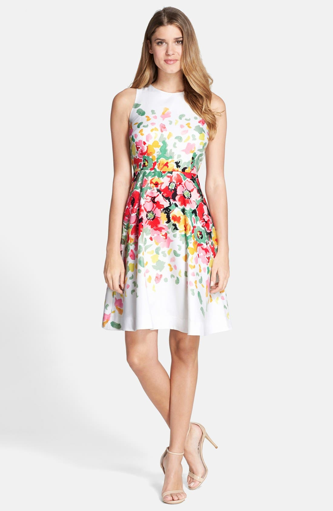 Alternate Image 3  - Donna Morgan Floral Print Twill Fit & Flare Dress