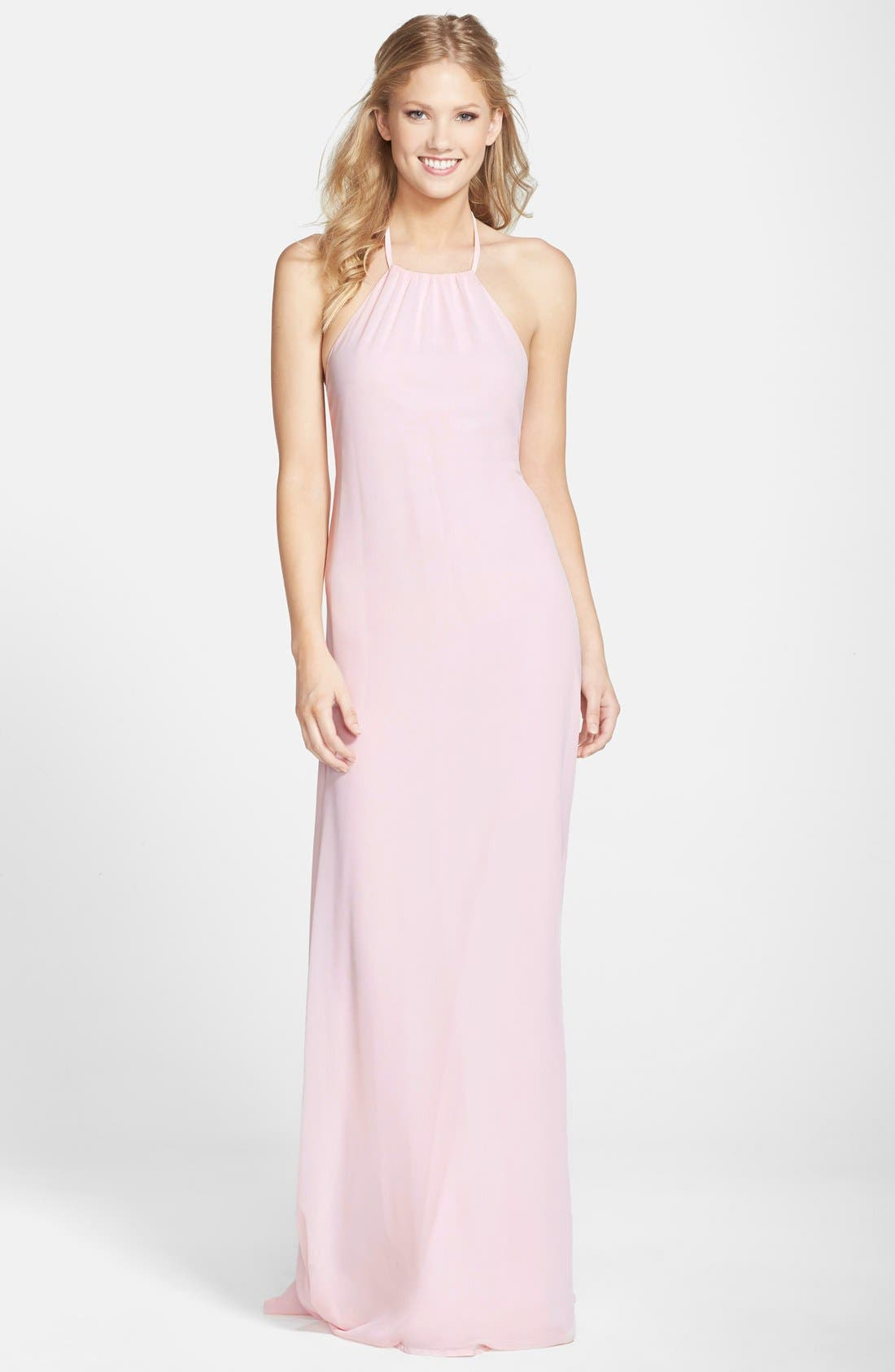 Alternate Image 1 Selected - nouvelle AMSALE 'Jordan' Open Back Chiffon Halter Gown
