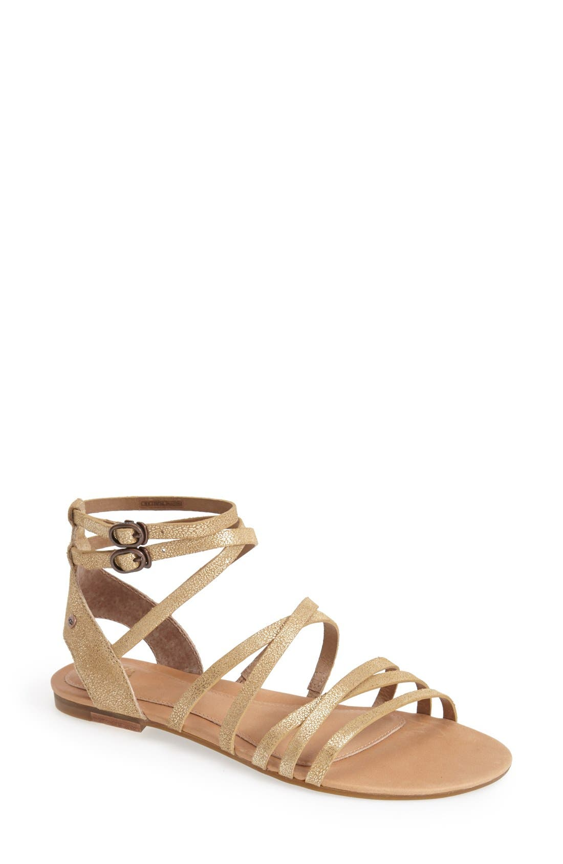 Alternate Image 1 Selected - UGG® Australia 'Devie' Metallic Leather Sandal (Women)