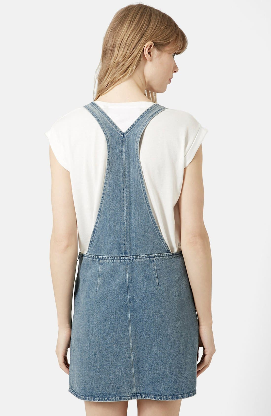 Alternate Image 2  - Topshop Moto Vintage Wash Pinafore Dress