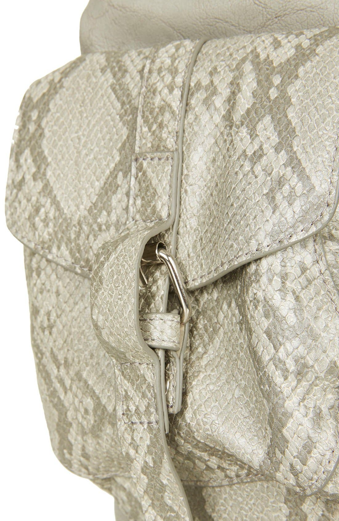 Alternate Image 4  - Topshop Snakeskin Pocket Faux Leather Backpack