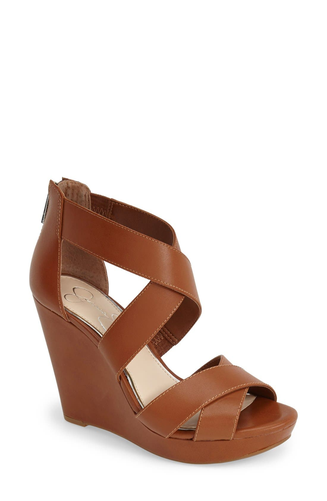 Alternate Image 1 Selected - Jessica Simpson 'Jadyn' Strappy Wedge Sandal (Women)