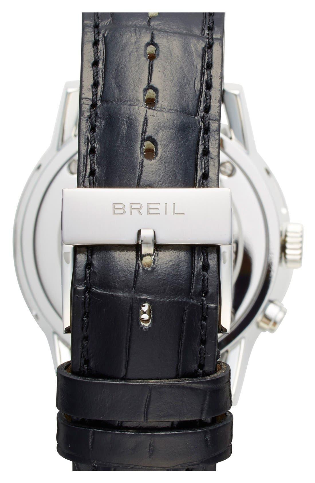 Alternate Image 2  - Breil 'Orchestra' Round Leather Strap Watch, 45mm
