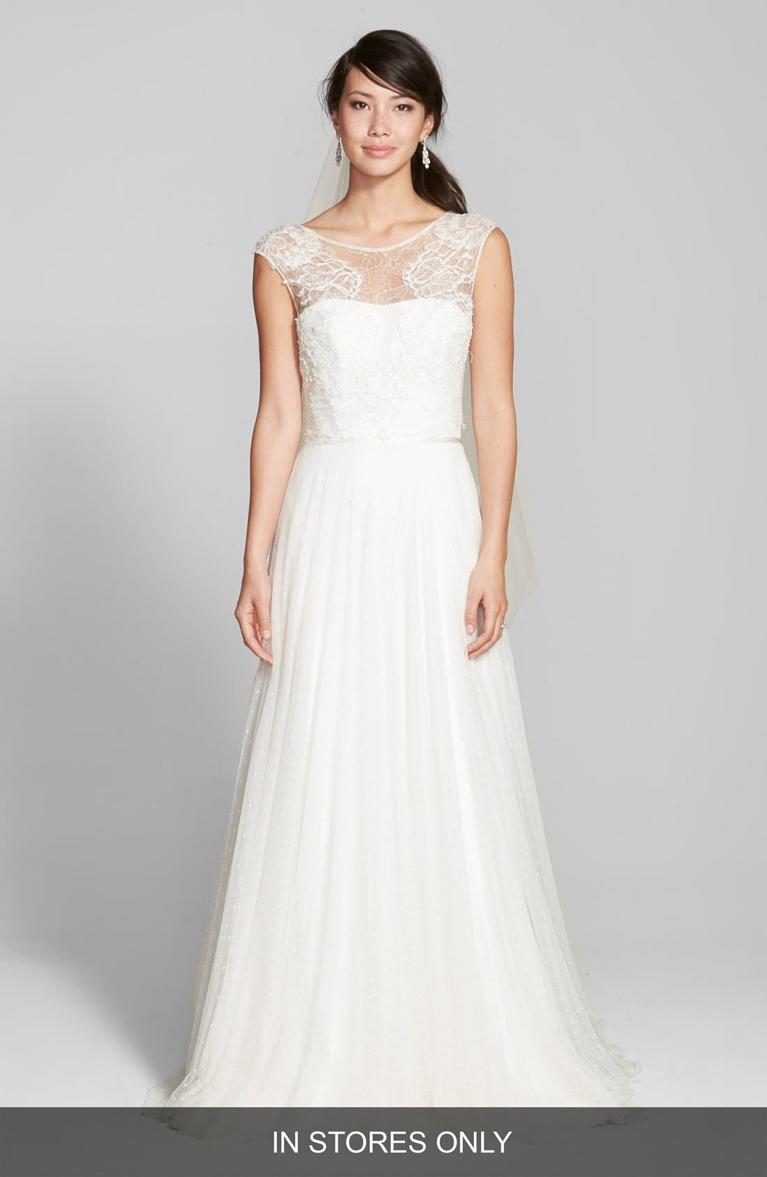 Jesús Peiró Lace & Swiss Dot Tulle Dress with Mikado Overskirt (In Stores Only)