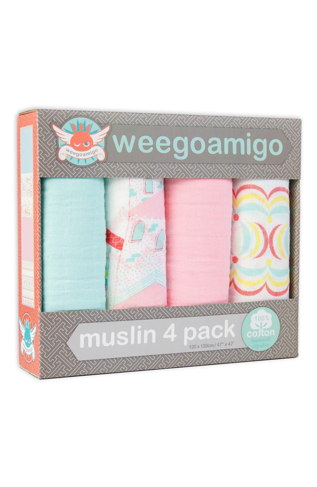 Alternate Image 2  - The Little Linen Company 'Weegoamigo' Muslin Swaddle Blanket (4-Pack)