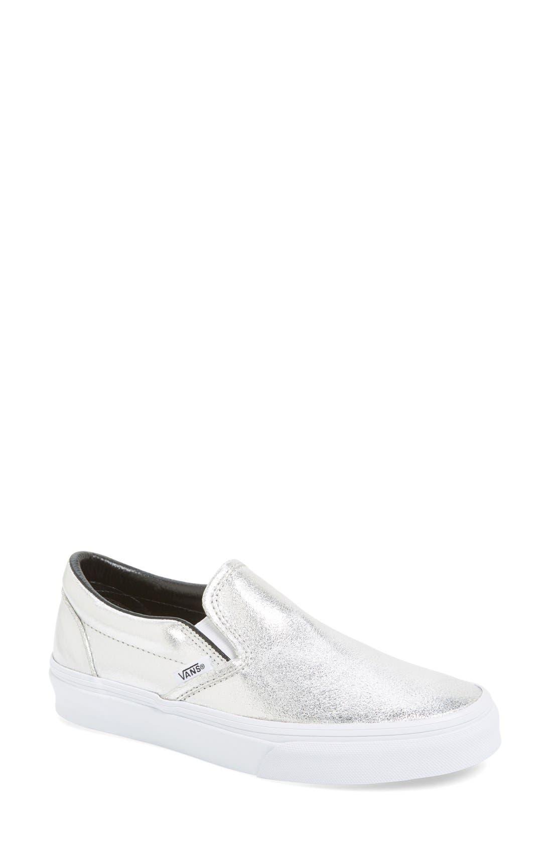 Alternate Image 1 Selected - Vans Metallic Leather Slip-On Sneaker (Women)