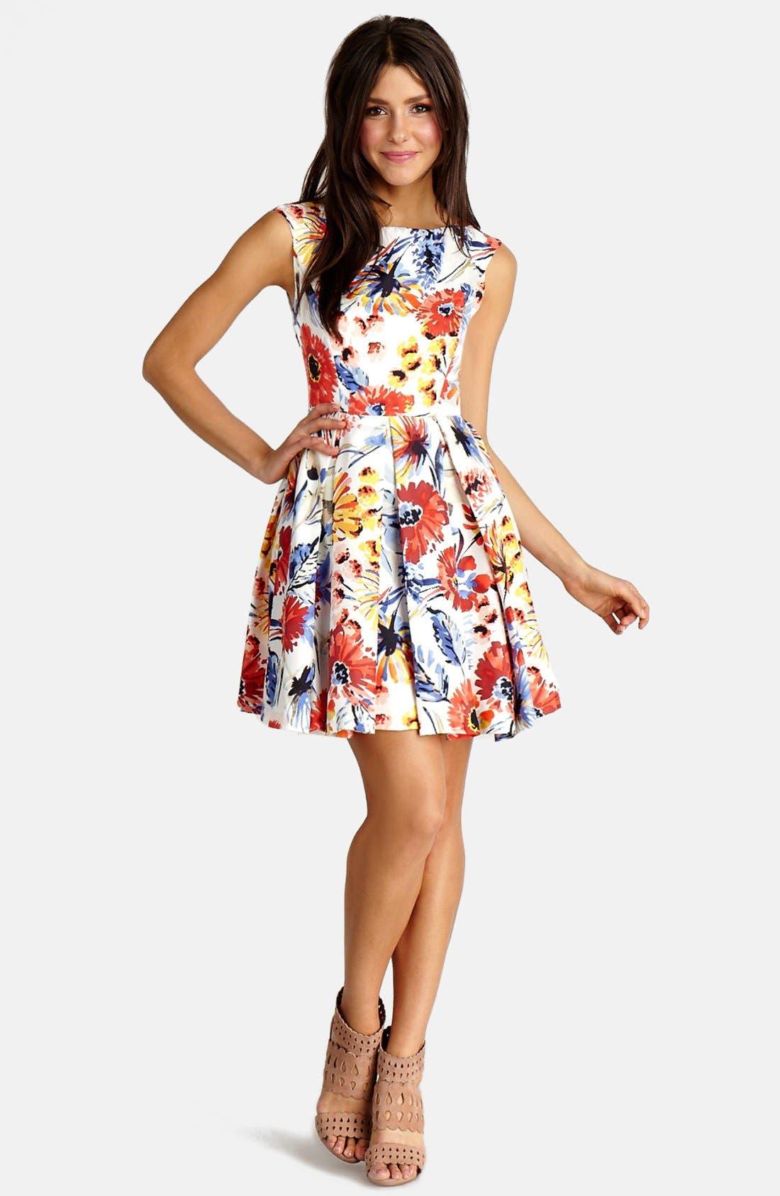 Main Image - Donna Morgan Floral Print Twill Fit & Flare Dress