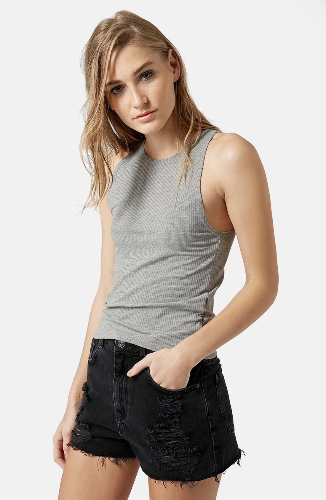 Alternate Image 1 Selected - Topshop 'Kim' Rib Jersey Tank