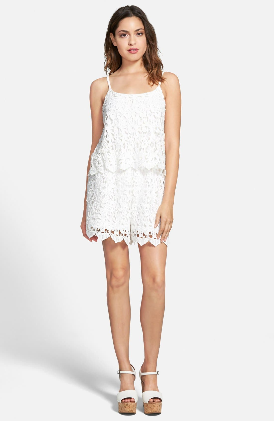 Alternate Image 1 Selected - Leola Couture Lace Popover Romper (Juniors)