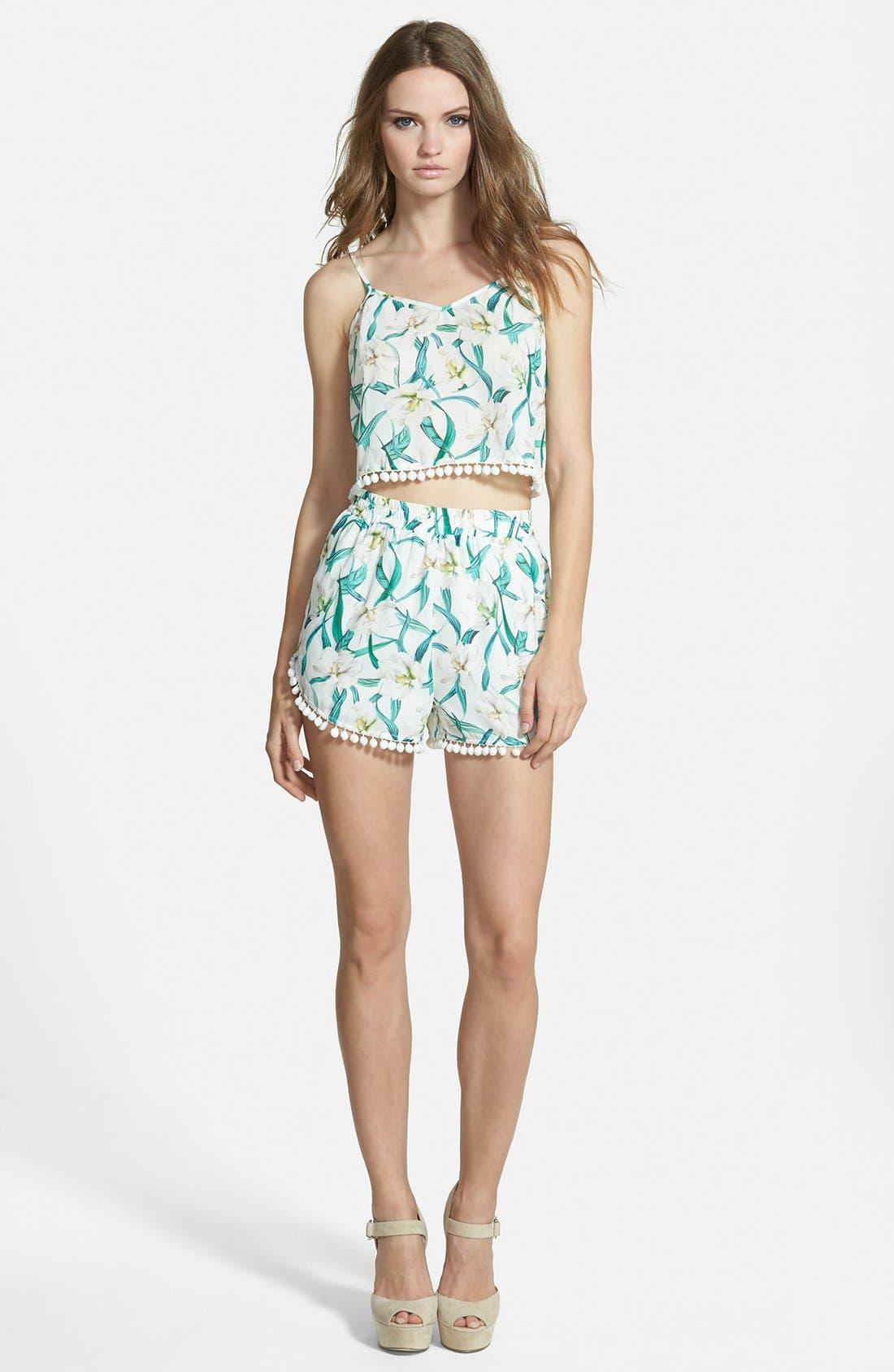 Alternate Image 4  - Missguided Floral Print Pom Shorts