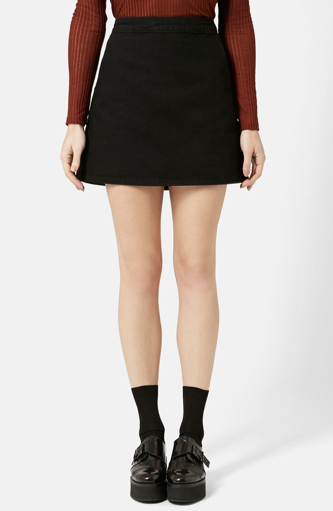 Main Image - Topshop Moto Denim Miniskirt