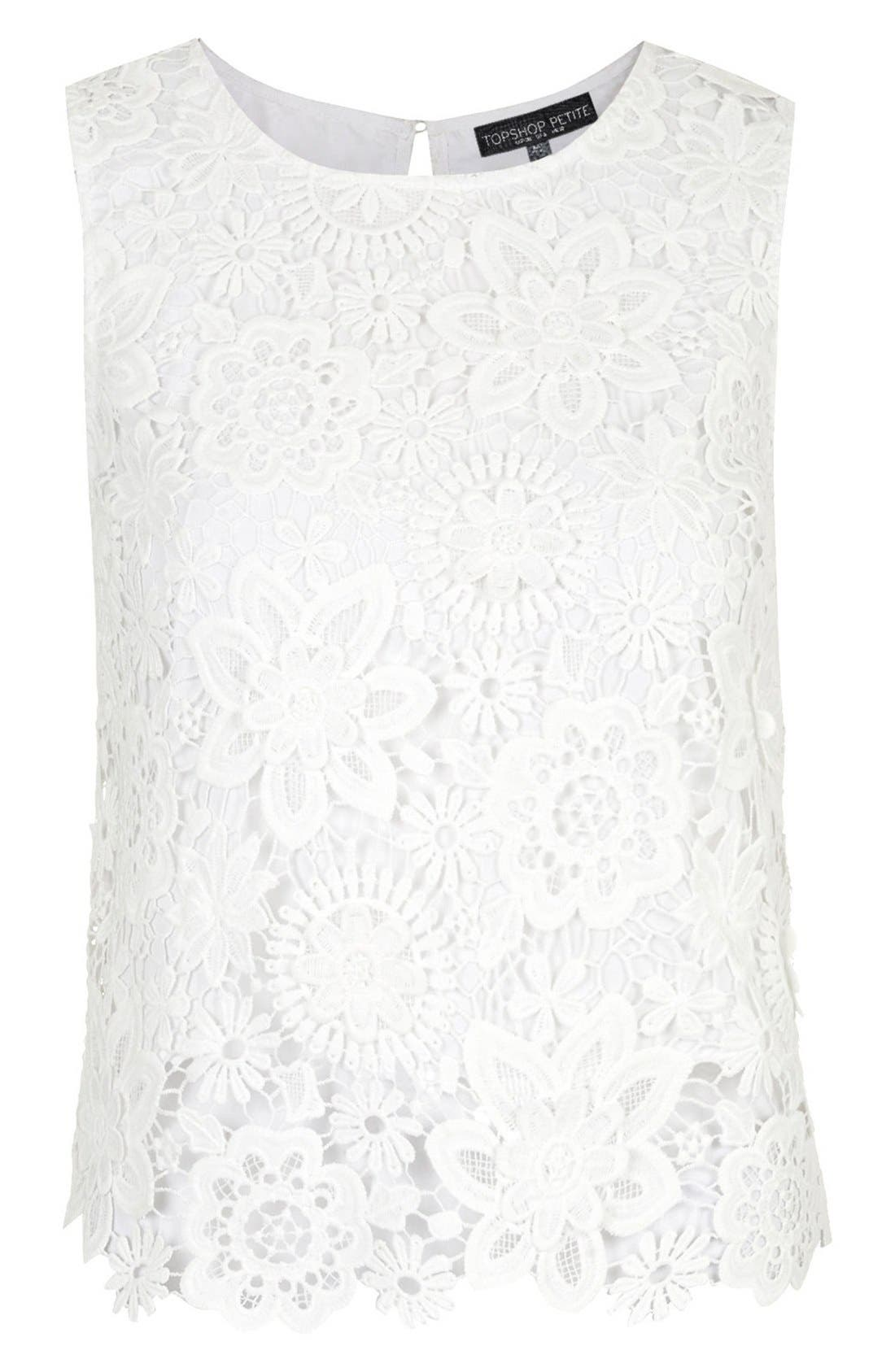 Alternate Image 3  - Topshop Crochet Lace Shell Top (Petite)