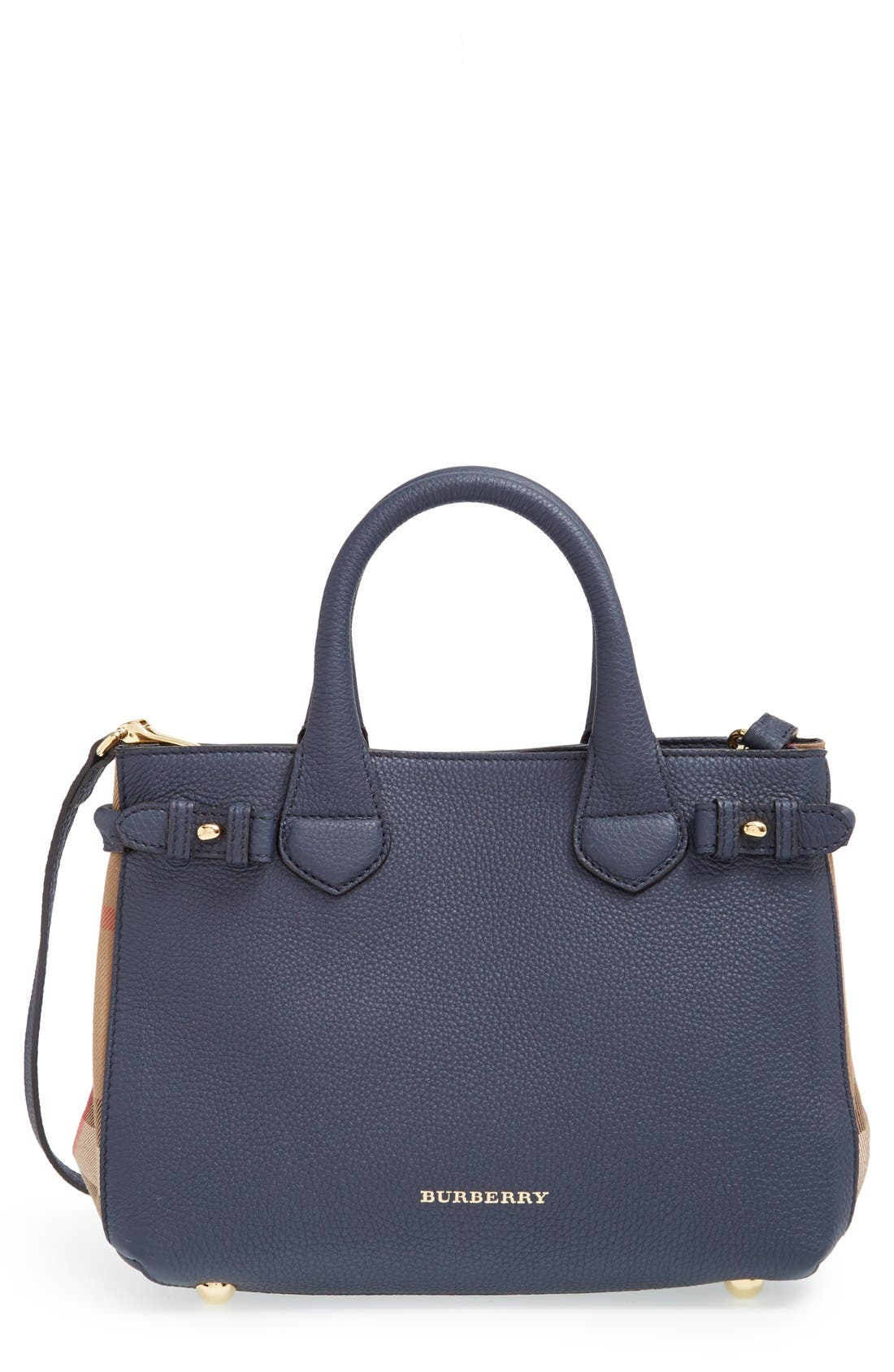 Alternate Image 1 Selected - Burberry 'Small Banner' House Check Leather Tote