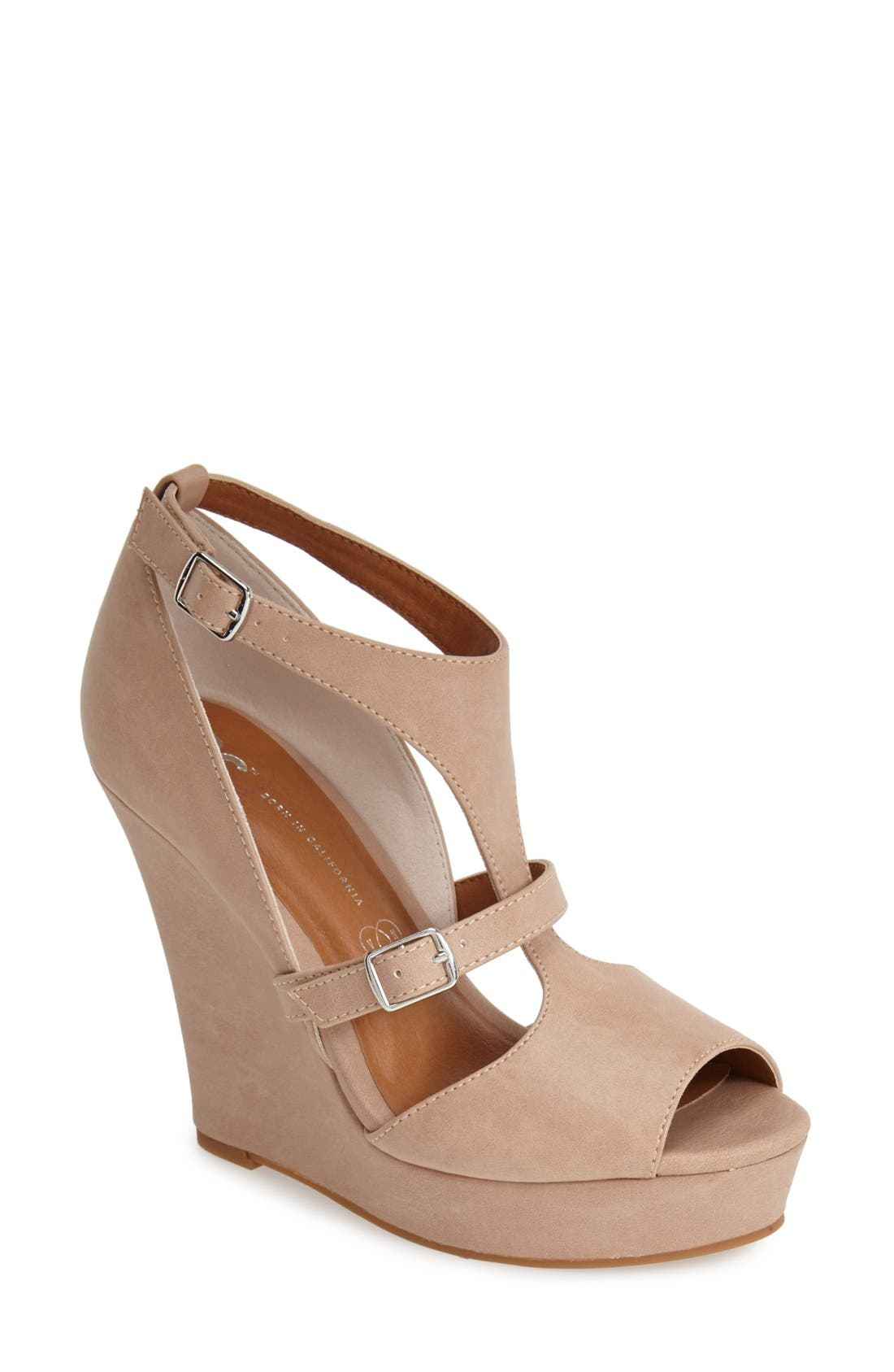 Alternate Image 1 Selected - BC Footwear 'Lionness' Faux Leather Wedge Sandal (Women)