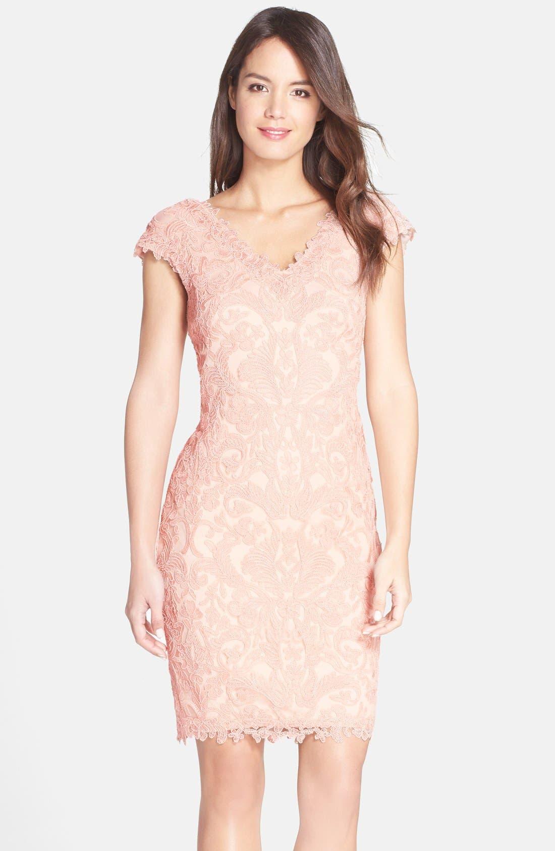 Main Image - Tadashi Shoji Corded Lace Tulle Sheath Dress (Regular & Petite)