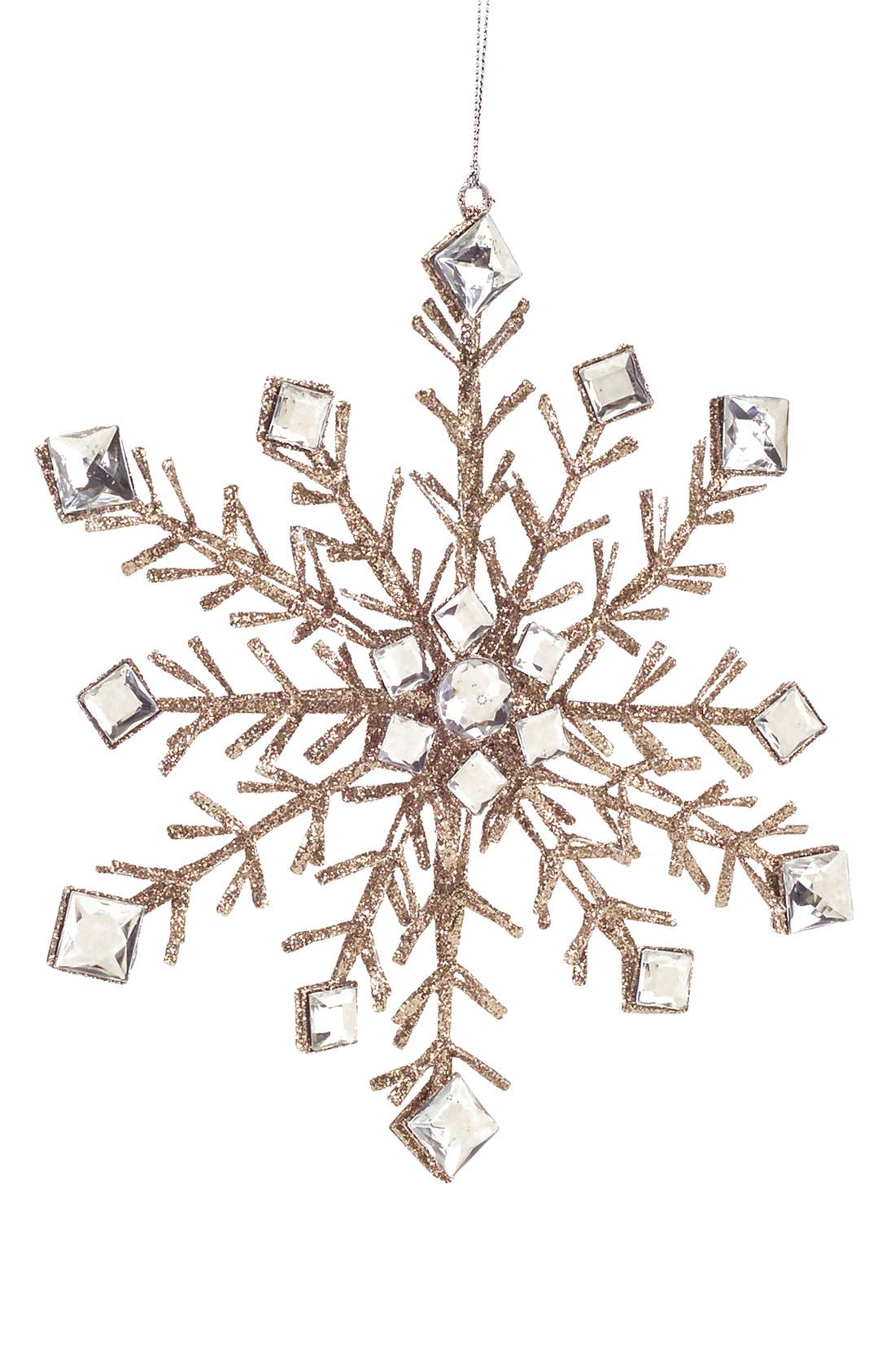 Main Image - Melrose Gifts Glitter & Crystal Snowflake Ornament