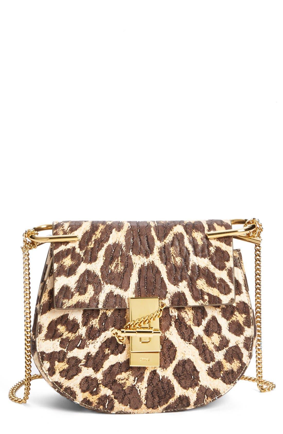 Alternate Image 1 Selected - Chloé 'Drew' Leopard Print Leather Shoulder Bag