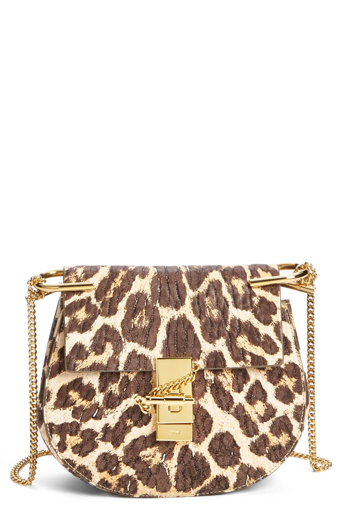 Main Image - Chloé 'Drew' Leopard Print Leather Shoulder Bag