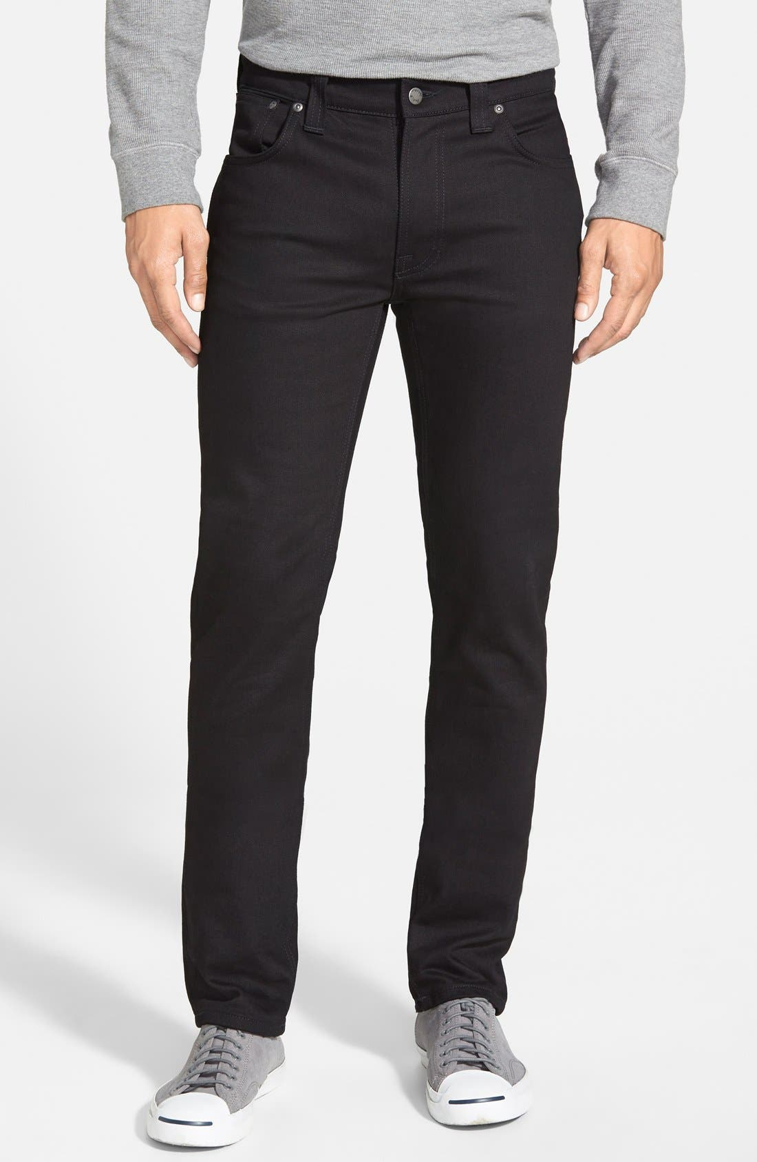 Main Image - Nudie Jeans 'Thin Finn' Skinny Fit Jeans (Black Ring)