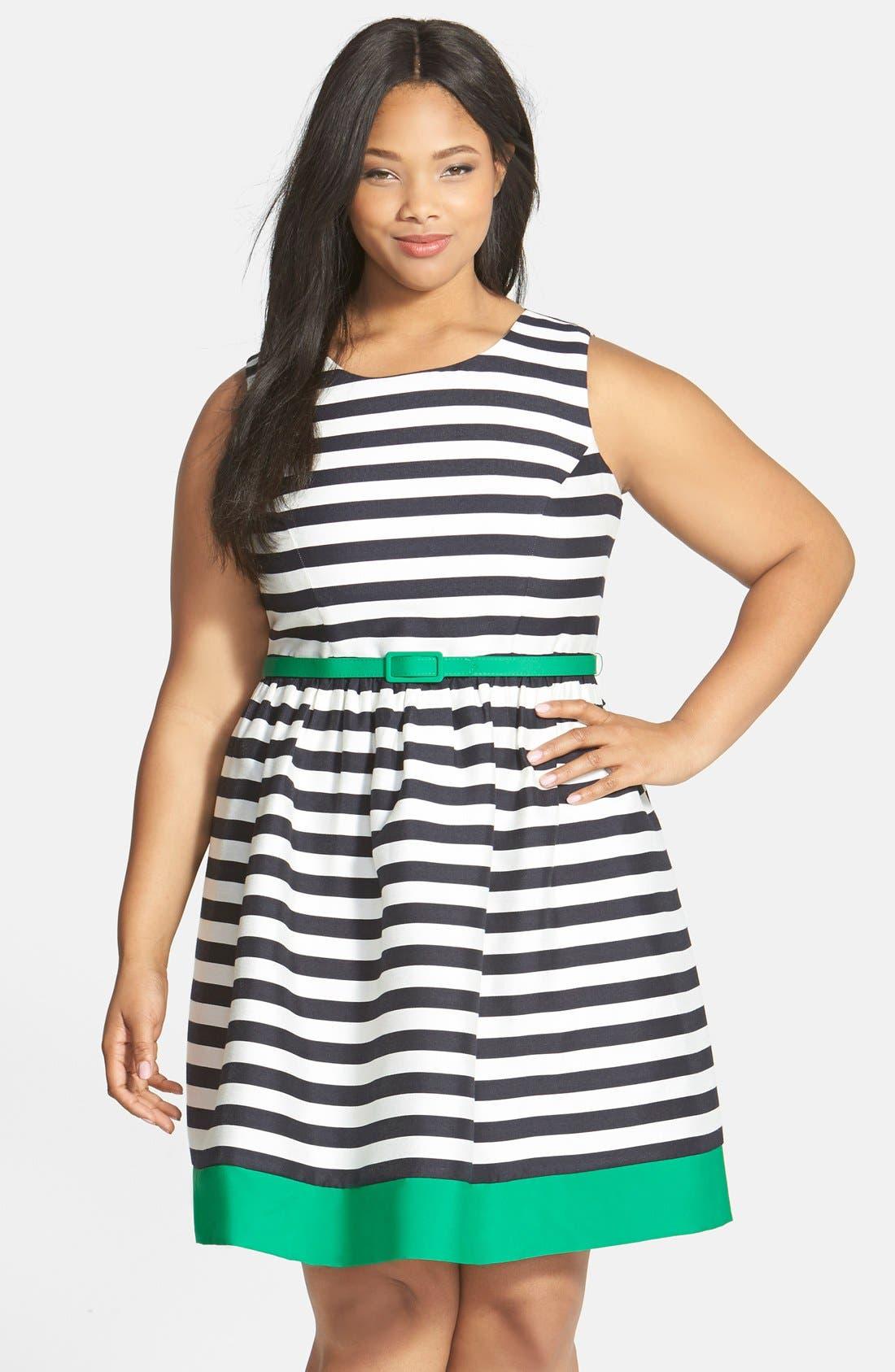 Main Image - Eliza J Contrast Trim Stripe Jacquard Fit & Flare Dress (Plus Size)
