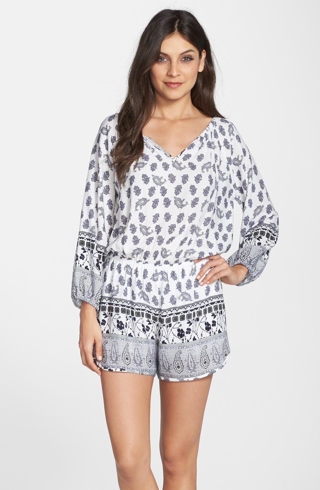 Main Image - Fraiche by J Paisley Print Long Sleeve Romper