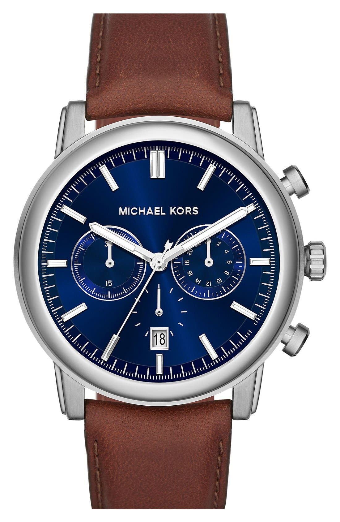 Alternate Image 1 Selected - Michael Kors 'Pennant' Chronograph Leather Strap Watch, 43mm (Nordstrom Exclusive)