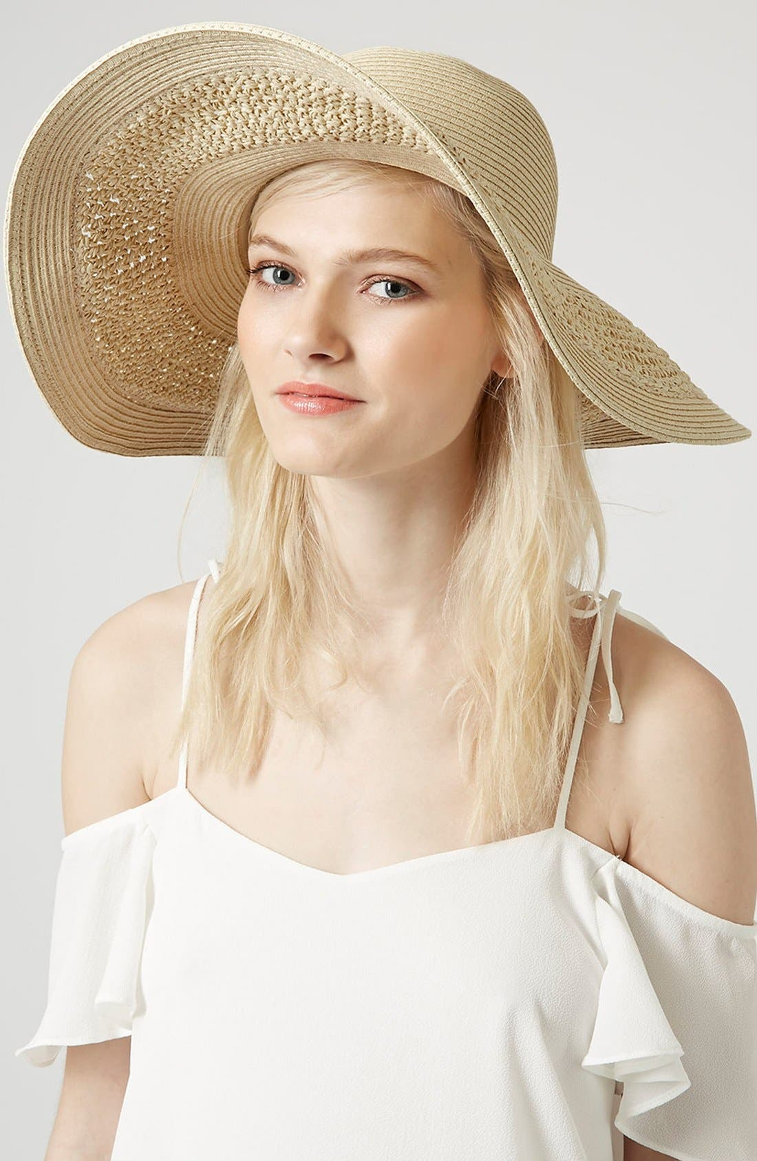 Main Image - Topshop Crochet Floppy Hat