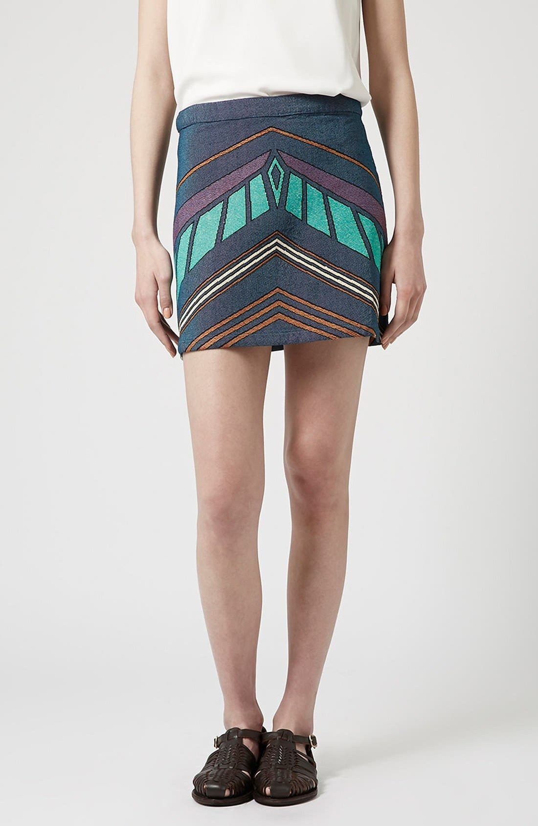 Alternate Image 1 Selected - Topshop Chevron Print A-Line Skirt
