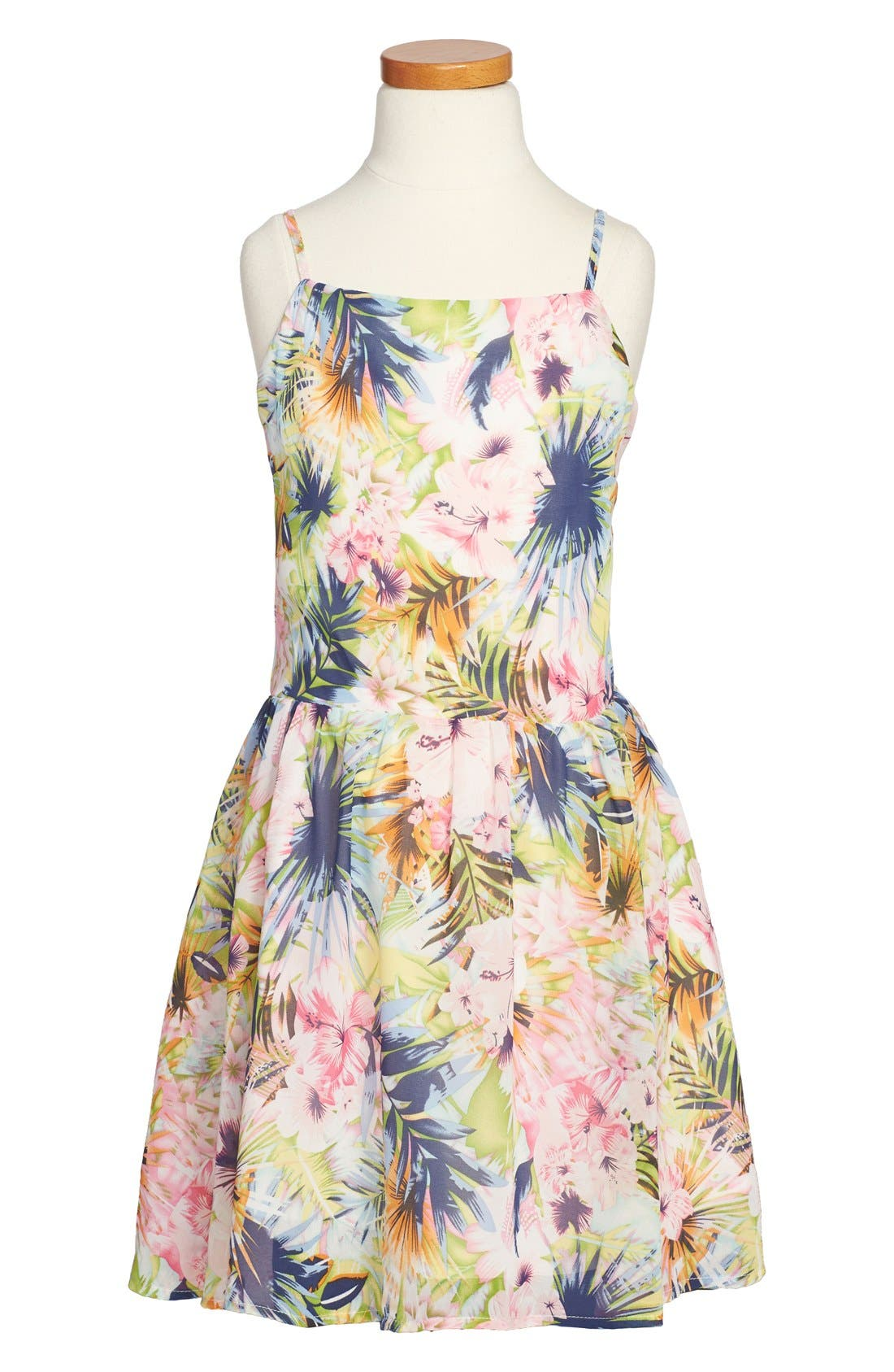 Main Image - Miss Behave 'Laurie' Floral Print Sleeveless Dress (Big Girls)