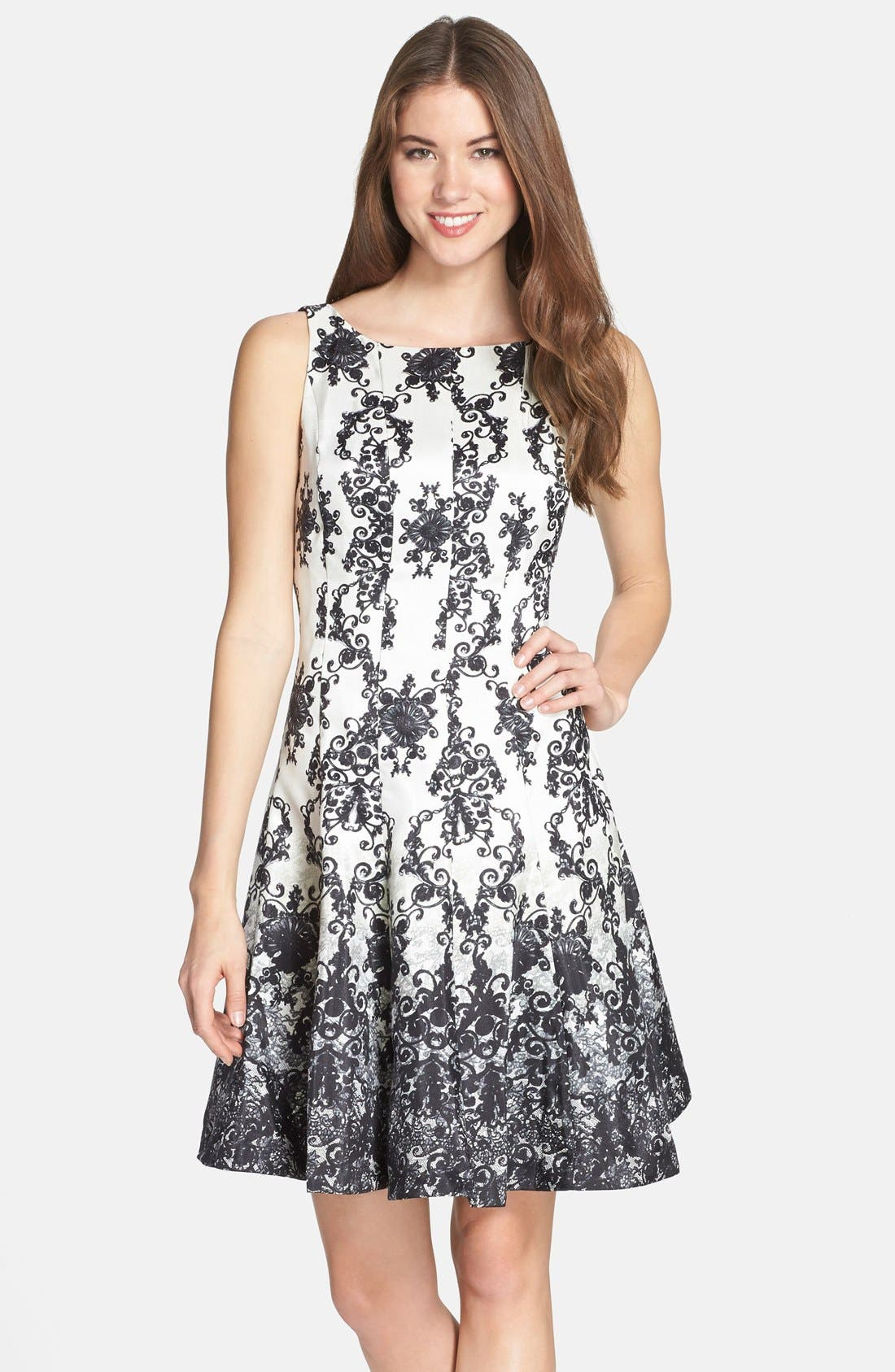 Main Image - Taylor Dresses Print Shantung Fit & Flare Dress (Regular & Petite)