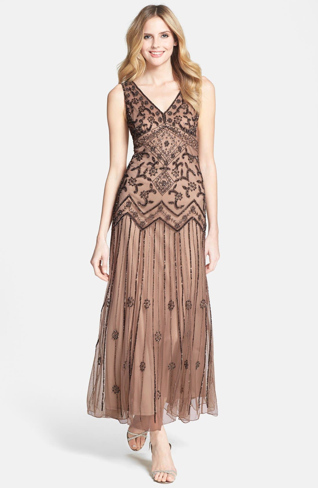 Main Image - Pisarro Nights V-Neck Beaded Sequin Gown