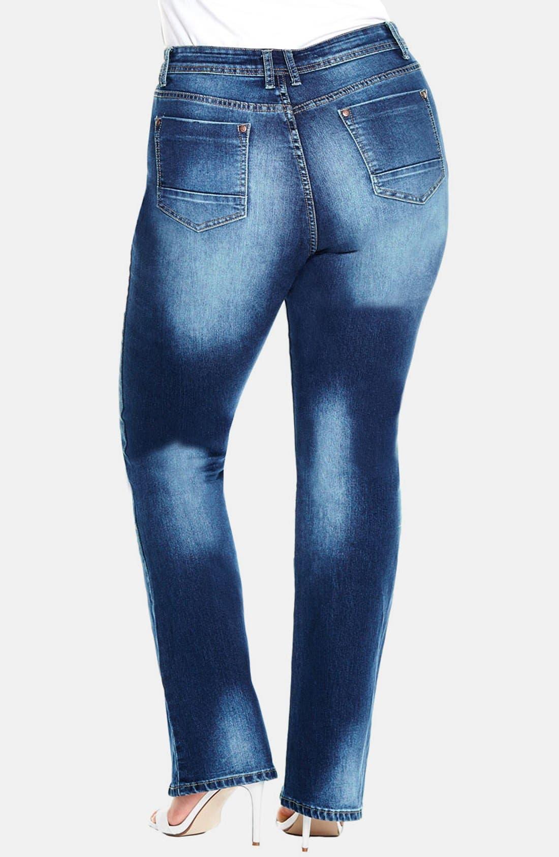 Alternate Image 2  - City Chic 'Clean Cut' Stretch Bootcut Jeans (Mid Denim) (Plus Size)