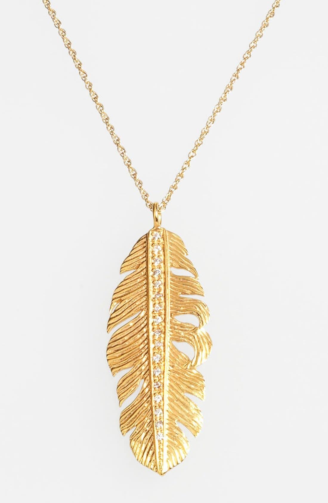 Main Image - Melinda Maria Large Feather Pendant Necklace