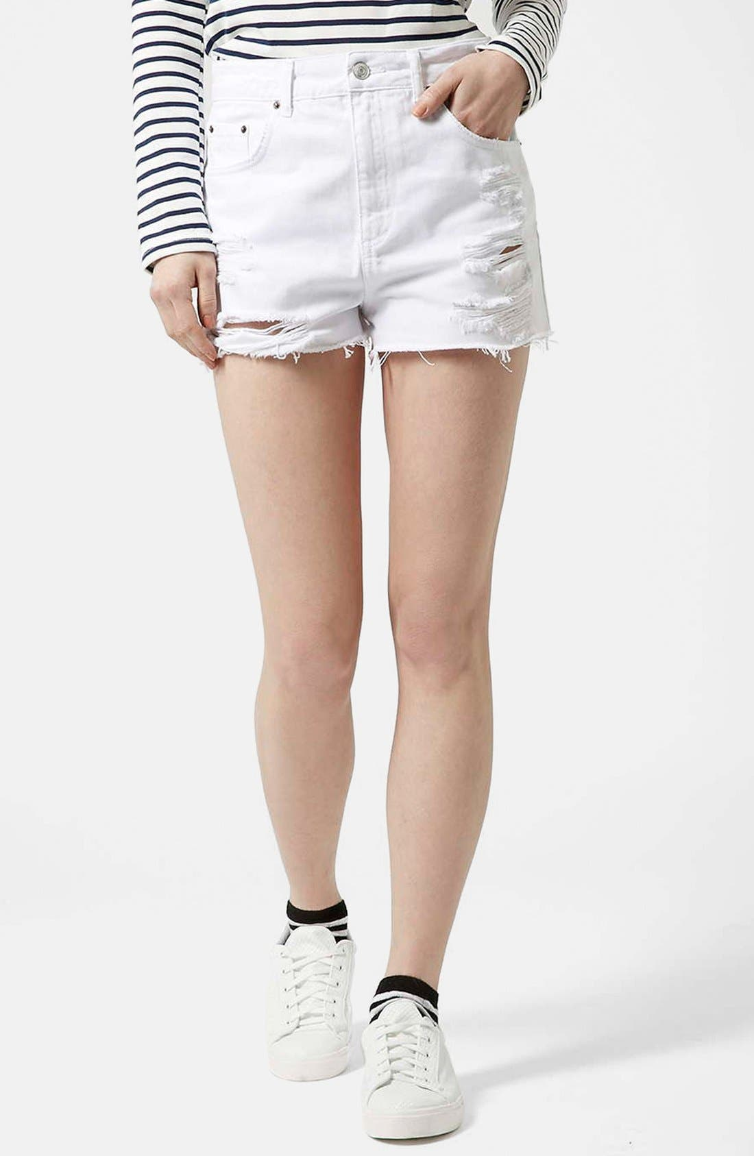 Main Image - Topshop Moto White Denim Shorts