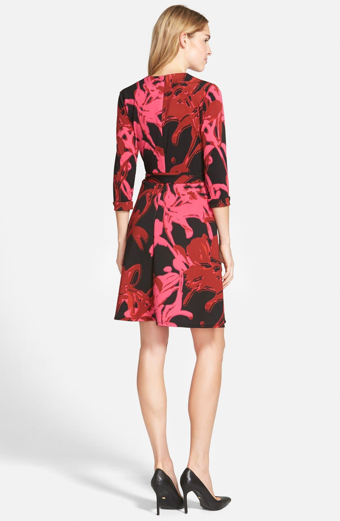 Alternate Image 2  - Taylor Dresses Print Jersey & Scuba Faux Wrap Dress (Regular & Petite)