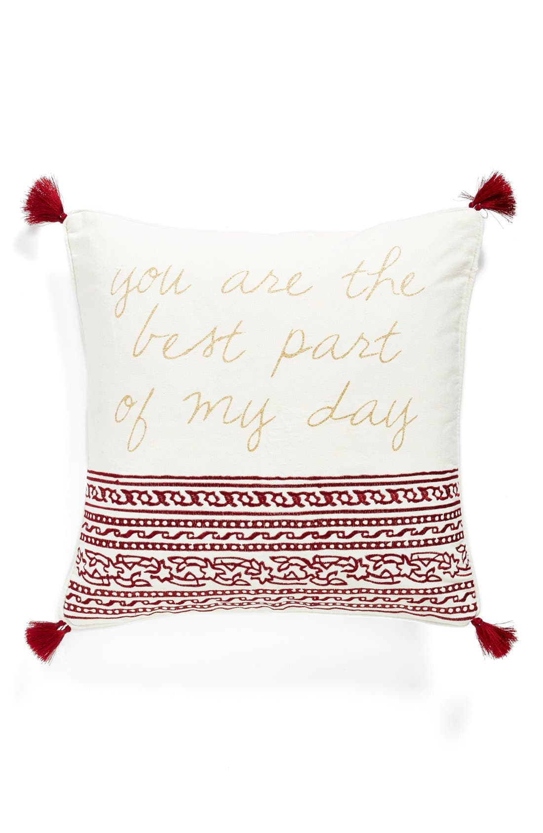 Main Image - Levtex 'Roma - You Are The Best Part Of My Day' Tasseled Accent Pillow