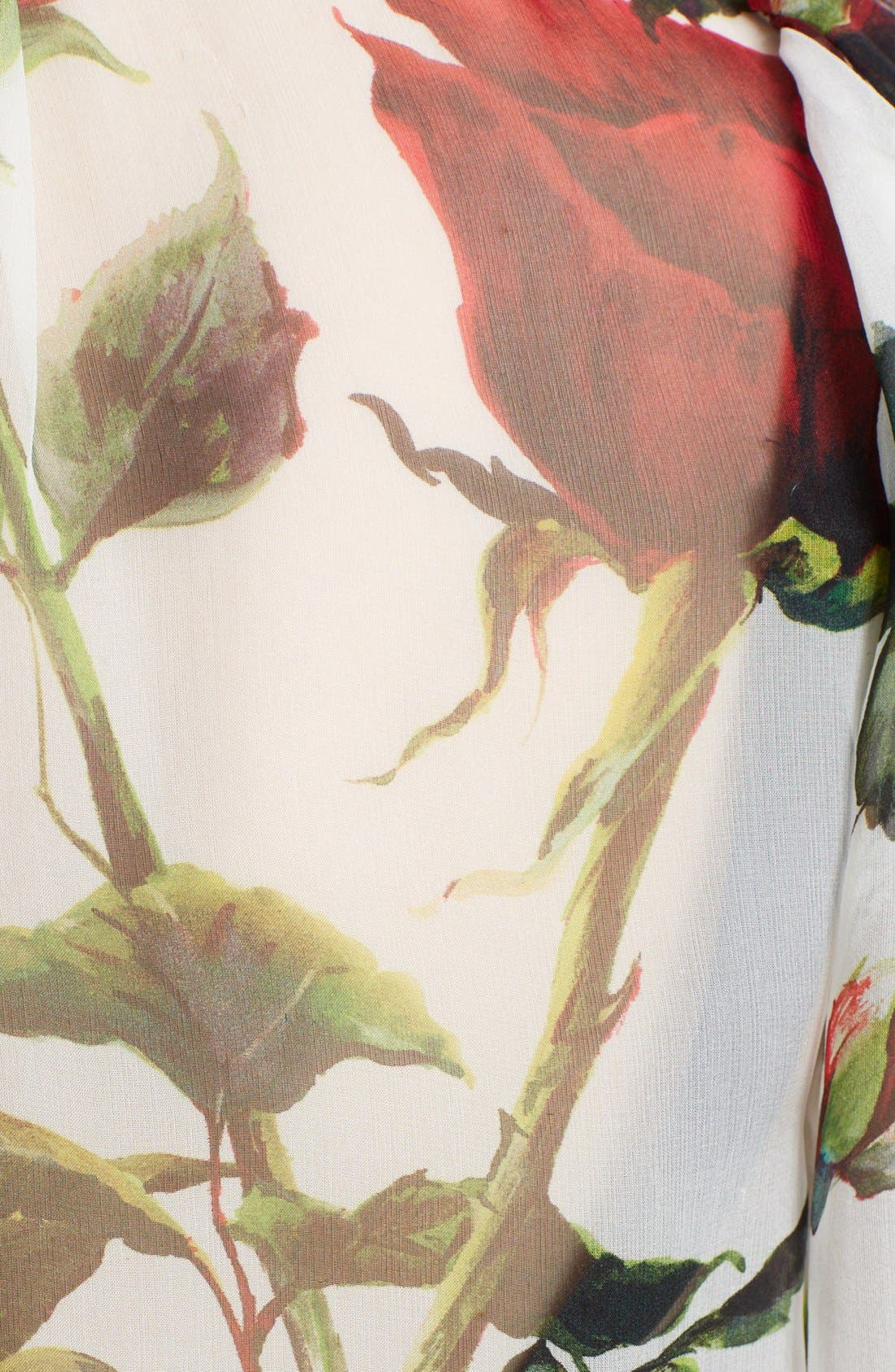 Alternate Image 3  - Dolce&Gabbana Tie Neck Rose Print Chiffon Blouse