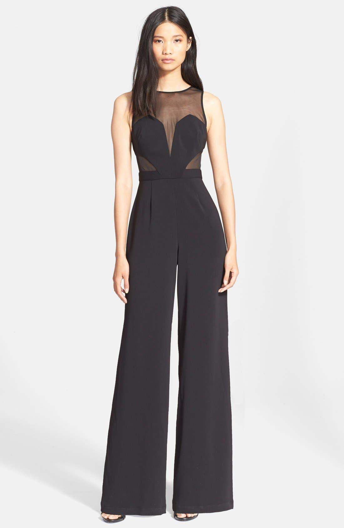 Alternate Image 1 Selected - Jay Godfrey Sheer Panel Crepe Jumpsuit