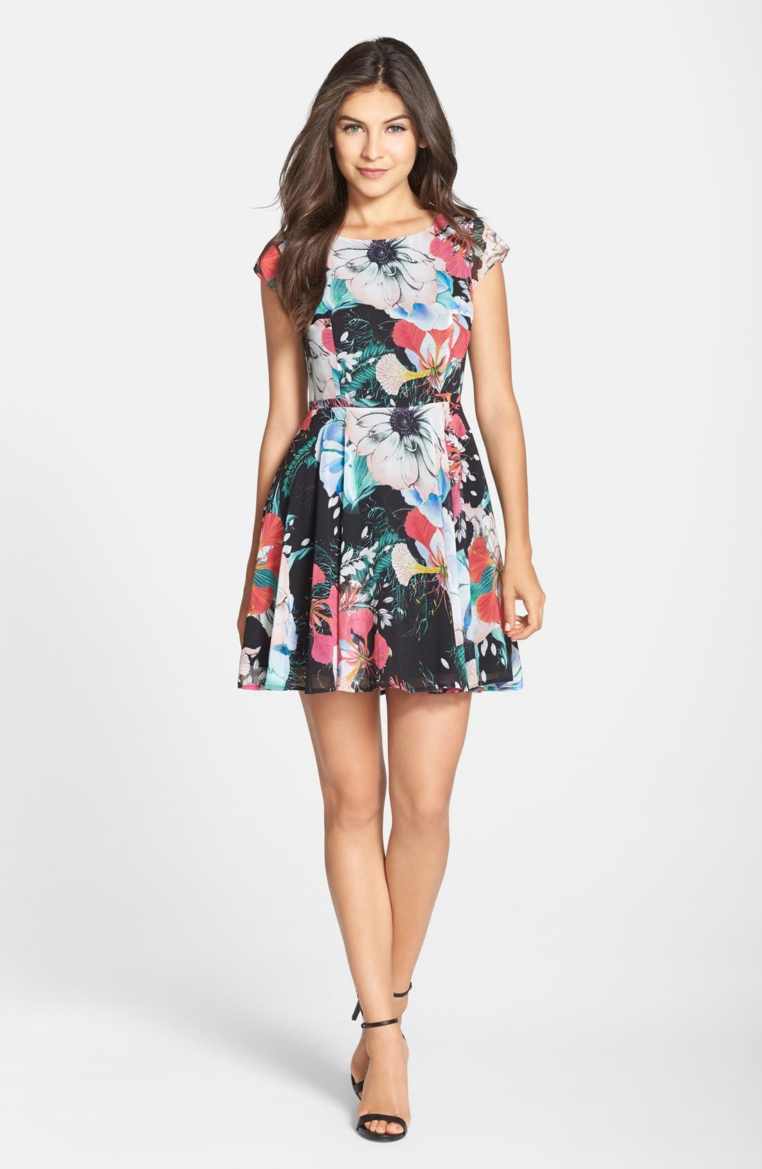 Main Image - French Connection 'Floral Reef' Print Chiffon Fit & Flare Dress