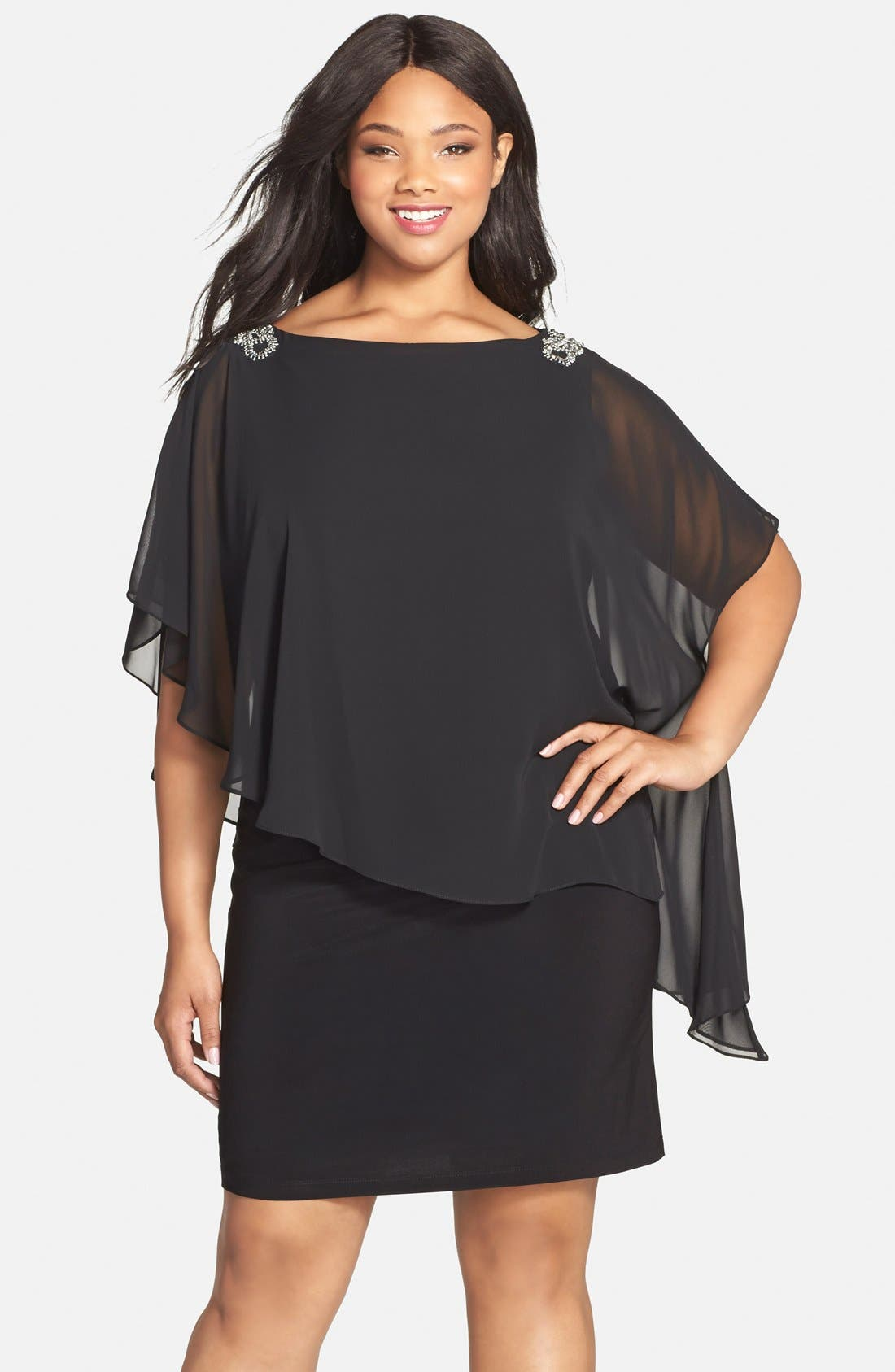 Xscape Embellished Chiffon Overlay Jersey Dress (Plus Size)