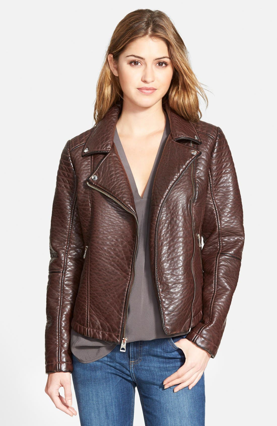 Main Image - GUESS Textured Faux Leather Moto Jacket