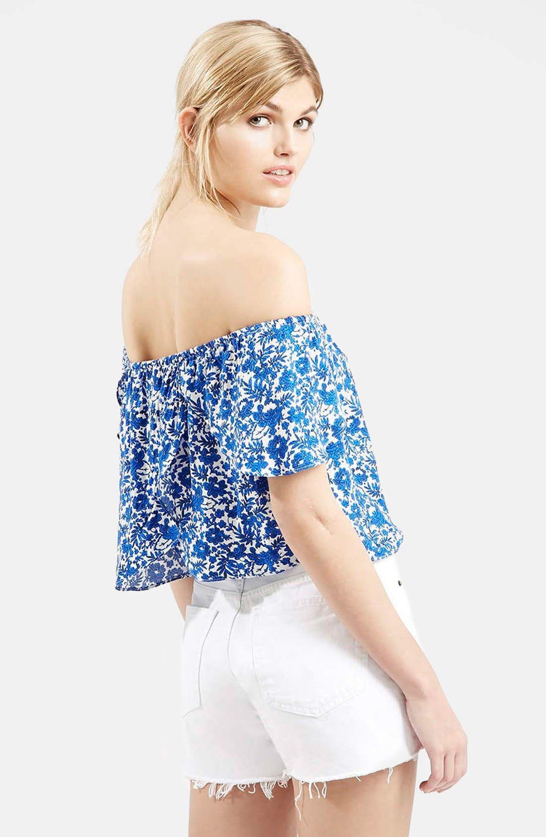 Alternate Image 2  - Topshop Floral Print Off the Shoulder Top