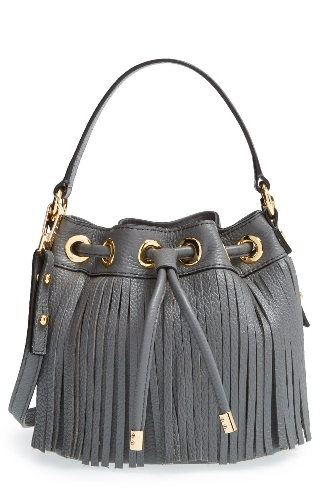 Main Image - Milly 'Small Essex' Fringed Leather Drawstring Bag