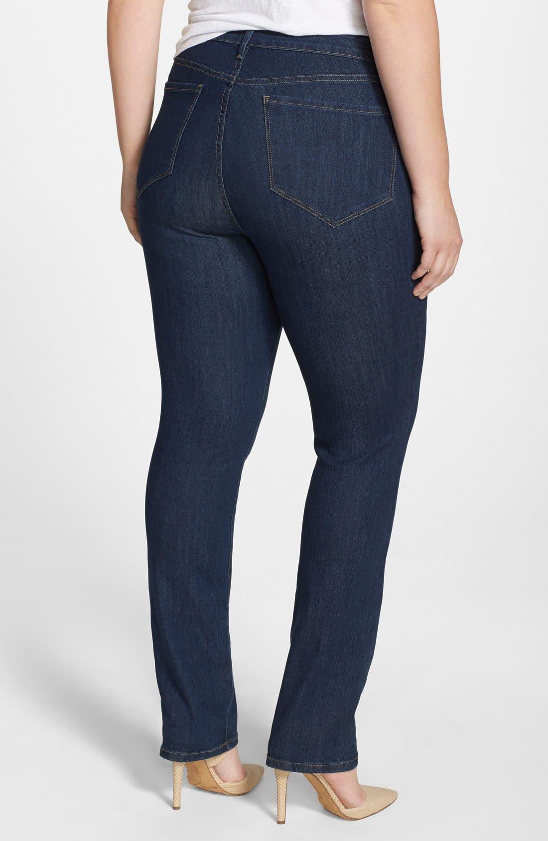 Alternate Image 2  - NYDJ 'Samantha' Stretch Slim Straight Leg Jeans (Everett) (Plus Size)