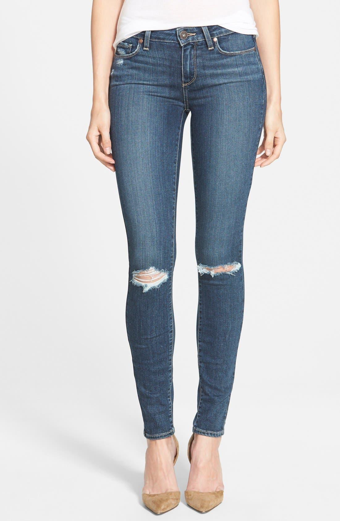 Main Image - Paige Denim 'Transcend - Verdugo' Ultra Skinny Jeans (Quinnley Destructed)