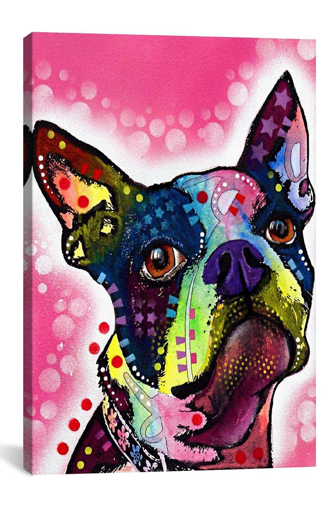 Alternate Image 1 Selected - iCanvas 'Boston Terrier - Dean Russo' Giclée Print Canvas Art