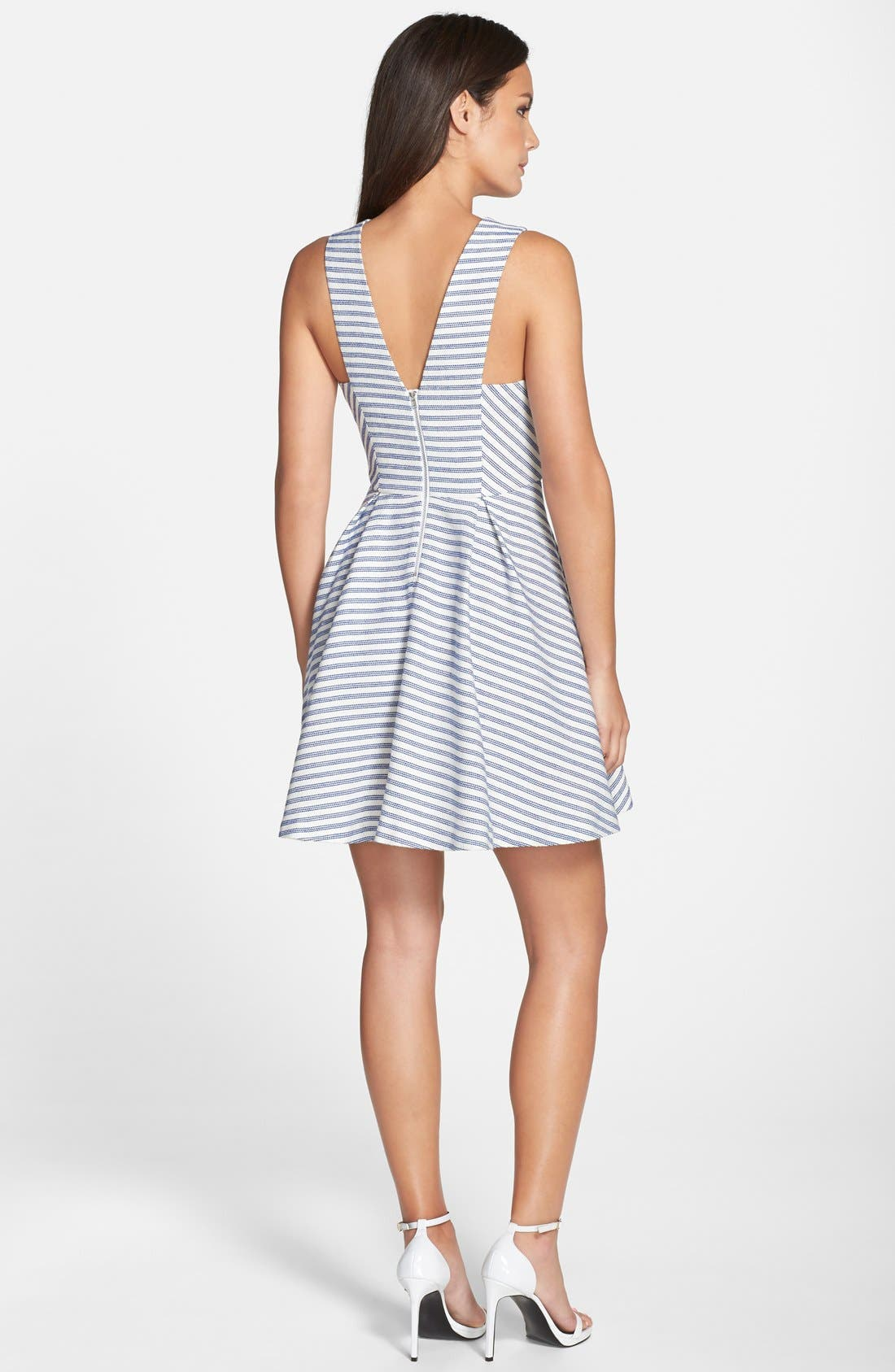 Alternate Image 2  - BCBGeneration Stripe Tweed Fit & Flare Dress