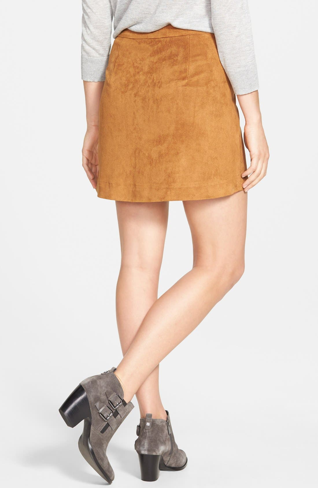 Alternate Image 2  - Two by Vince Camuto Faux Suede A-Line Miniskirt