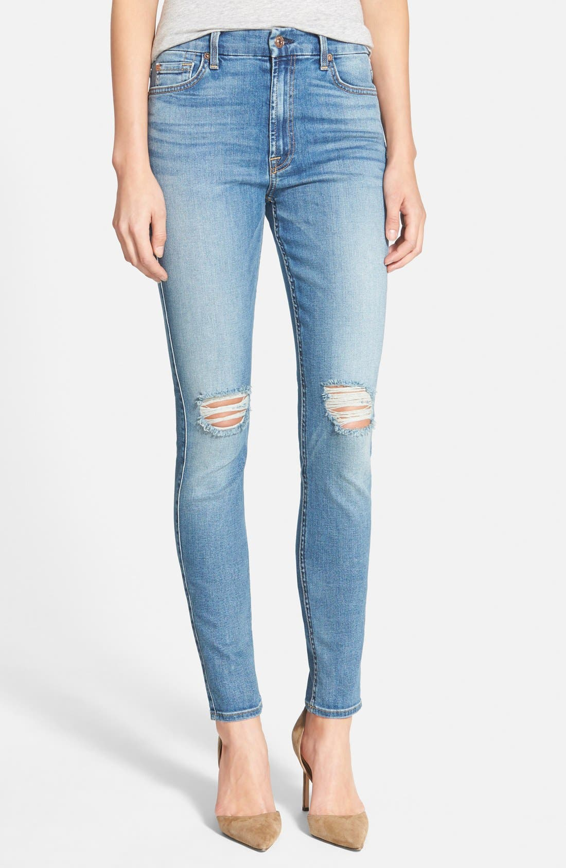 Main Image - 7 For All Mankind® High Rise Skinny Jeans (Slone Heritage Medium light 2)